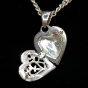 Jewelry - 925 Heart with Cross Locket Pendant and Necklace